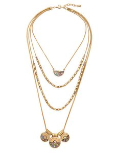 Other Mod Gold Shell Layer Necklace Multi Chain Statement Necklace