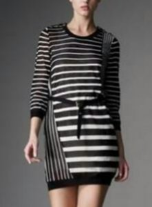 3.1 Phillip Lim Striped Belted Knit Wool Blend Dress