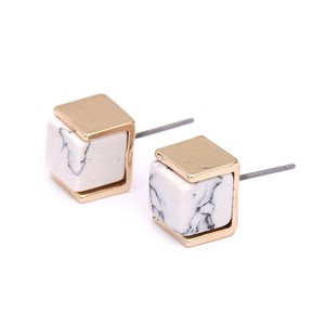Other White Marble Box Stud Earrings