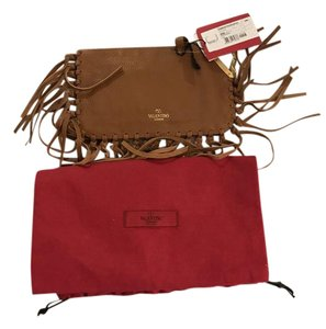 Valentino Fringe Brown Clutch