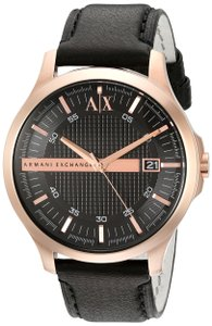 A|X Armani Exchange Armani Exchange Rose Gold-Tone Leather Mens Watch AX2129