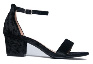 J. Adams Heel Suede Ankle Strap Open Toe Black Velvet Sandals