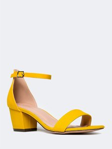 J. Adams Ankle Strap Heel Open Toe Vegan Suede Yellow Sandals