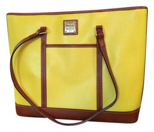 Dooney & Bourke Tote in sunshine yellow, brown