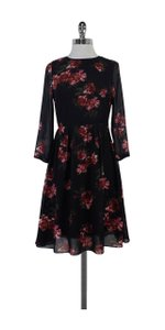 Erin Fetherston short dress Black Red & Green Floral Print Pleated on Tradesy