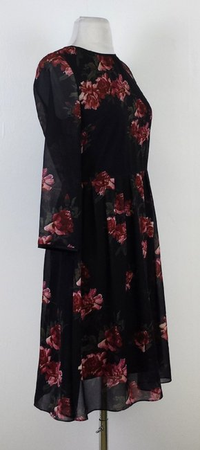 Erin Fetherston short dress Beige Black Red & Green Floral Print Pleated on Tradesy