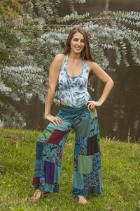 Other Hippie Boho The Treasured Hippie Bell Wide Leg Pants Teal