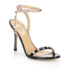 Valentino Strappy Rockstud Black Nude Blush Sandals