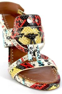 Proenza Schouler Proenza Snakeskin Heels Bright Summer Vacation Heels multi red yellow Sandals