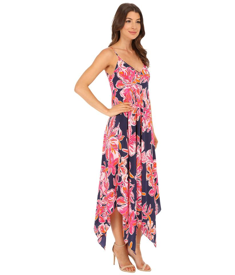 a012a200962fe2 Lilly Pulitzer Navy Pink Orange Coral Rylan Silk Printed Handkerchief  Waterfall Hemline Long Cocktail Dress Size 4 (S) - Tradesy