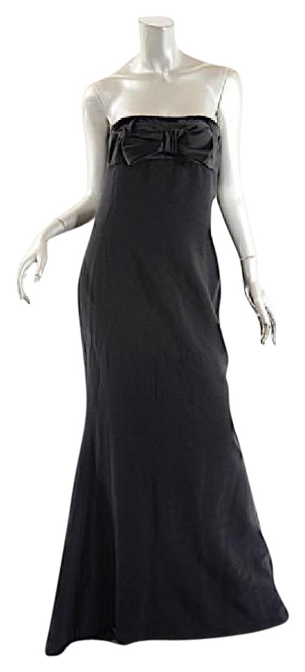 Valentino Black Roma Acetate/Rayon Strapless Gown W/ Satin Bow Long ...
