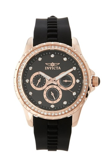 Invicta Black & Rose Gold-Tone Angel Collection Chronograph Watch