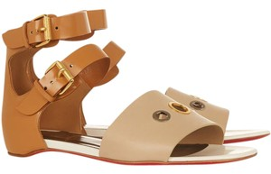 Christian Louboutin Leather Red Sole Jonathan tan and beige Sandals