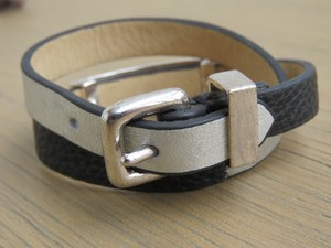 Marc by Marc Jacobs Black and Silver Leather Wrap Bracelet