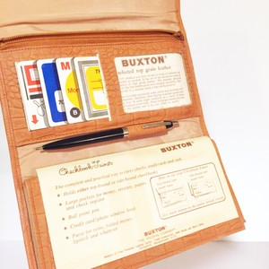 Buxton button orange embossed leather wallet with original inserts