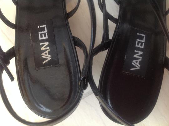 Vaneli Leather Mid Heel Black patent Sandals