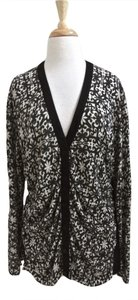 Lafayette 148 New York & White Cardigan Long Sleeve Printed Sweater