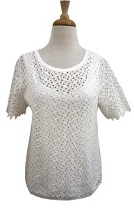 Other Short Sleeve Eyelet Lace Floral Top white