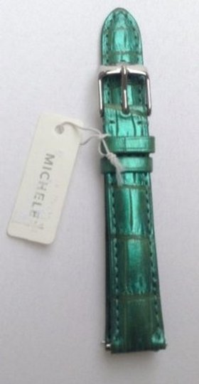 Michele Authentic Michele 16mm Alligator Watch Band Strap Agate Green