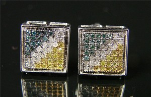 Other Mens/Ladies Multi-Color Bezel Pave Diamond Earring 9 Mm