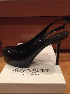 Saint Laurent Black Patent Leather Slingback Pumps