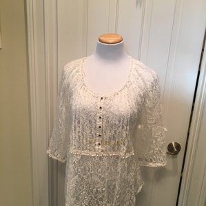 American Vintage Lace Scoop Neck 3/4 Sleeves T Shirt Off white