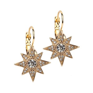 Mariell Mariell Celestial Stars Prom Or Bridesmaids Gold Euro Wire Earrings 4