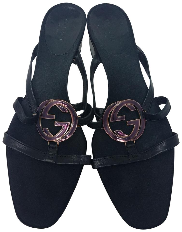 c78e06f552f Gucci Black Gold Leather Iridescent Interlocking Gg Slide Sandals. Size  EU  37 (Approx. US 7) ...