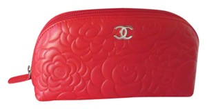 Chanel Chanel Red Camellia Cosmetic Bag Clutch