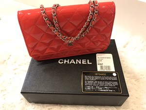 Chanel Patent Leather Wallet On Chain Coral Cross Body Bag