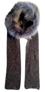 Inverni Alpaca Wool, Cashmere Wrap Scarf with Coyote Fur