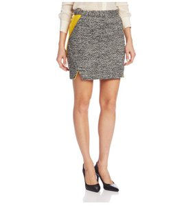 Rebecca Minkoff Tweed Yellow Gold Party Work Mini Skirt Black/White/Yellow