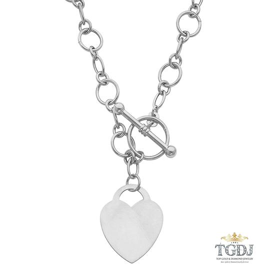 Top Gold & Diamond Jewelry 14K White Gold Hollow Links With Heart Necklace - 18