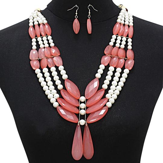 Other Multi Layer Multi Strand Translucent Bead Pearl Bib Collar Necklace and Earring