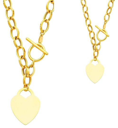 Preload https://img-static.tradesy.com/item/20991659/yellow-gold-14k-links-with-heart-18-necklace-0-1-540-540.jpg