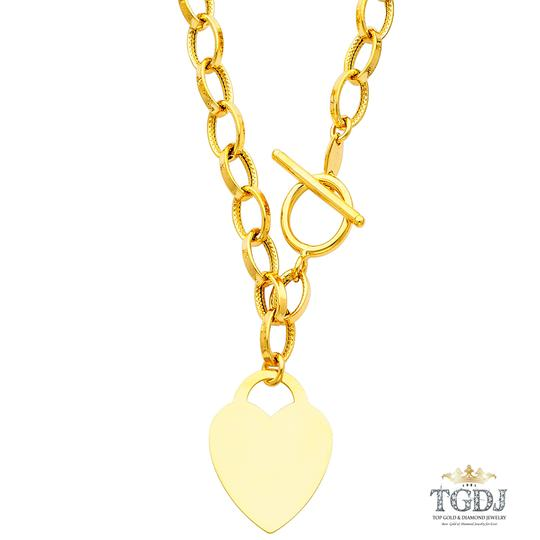 Top Gold & Diamond Jewelry 14K Yellow Gold Hollow Links With Heart Necklace - 18