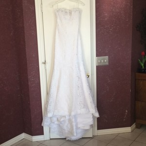 Romona Keveza White Lace with Silk Lining Legends By Feminine Wedding Dress Size 6 (S)