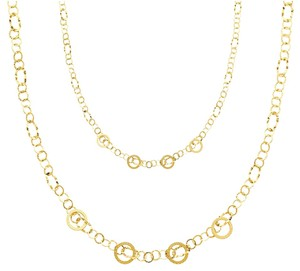 Top Gold & Diamond Jewelry 14K Yellow Gold Airy Fashion Links Necklace - 36