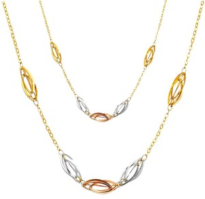 Top Gold & Diamond Jewelry 14K Tri Color Necklace - 17+1