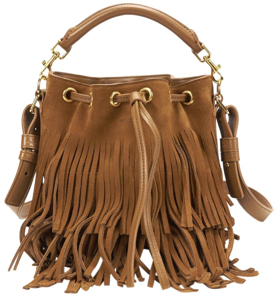 03889d1246a Saint Laurent Bucket Emmanuelle Ysl Yves Fringe Small Ocher Brown ...