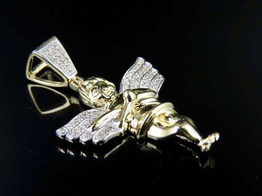 Other 10K Yellow Gold Real Diamond Wing Angel Cherub Pendant Charm 0.25CT