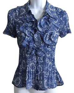 Sunny Leigh Floral Button Up Ruffles Top blue and white
