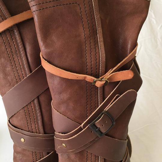 Chloé Strappy Leather Buckle Brown Boots