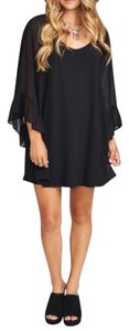 Show Me Your Mumu short dress Black Bell Sleeve Swingy Mini Bohemian Festival Ruffle Open on Tradesy