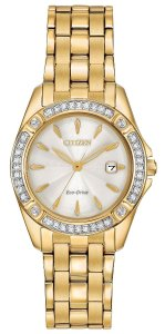 Citizen Citizen Eco-Drive Silhouette Gold-Tone Crystal Ladies Watch EW2352-59P