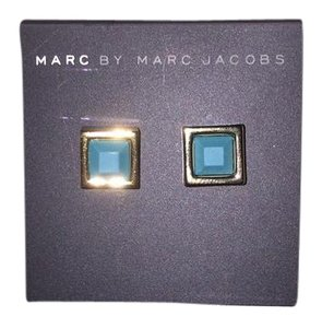 Marc by Marc Jacobs Teal Stud Earrings Turquoise Square Gold Earrings