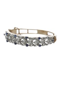 Other 14K Yellow Gold Diamond & Blue Sapphire Bangle Bracelet