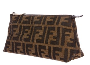 Fendi Brown, beige Zucchino monogram print canvas Fendi cosmetic bag
