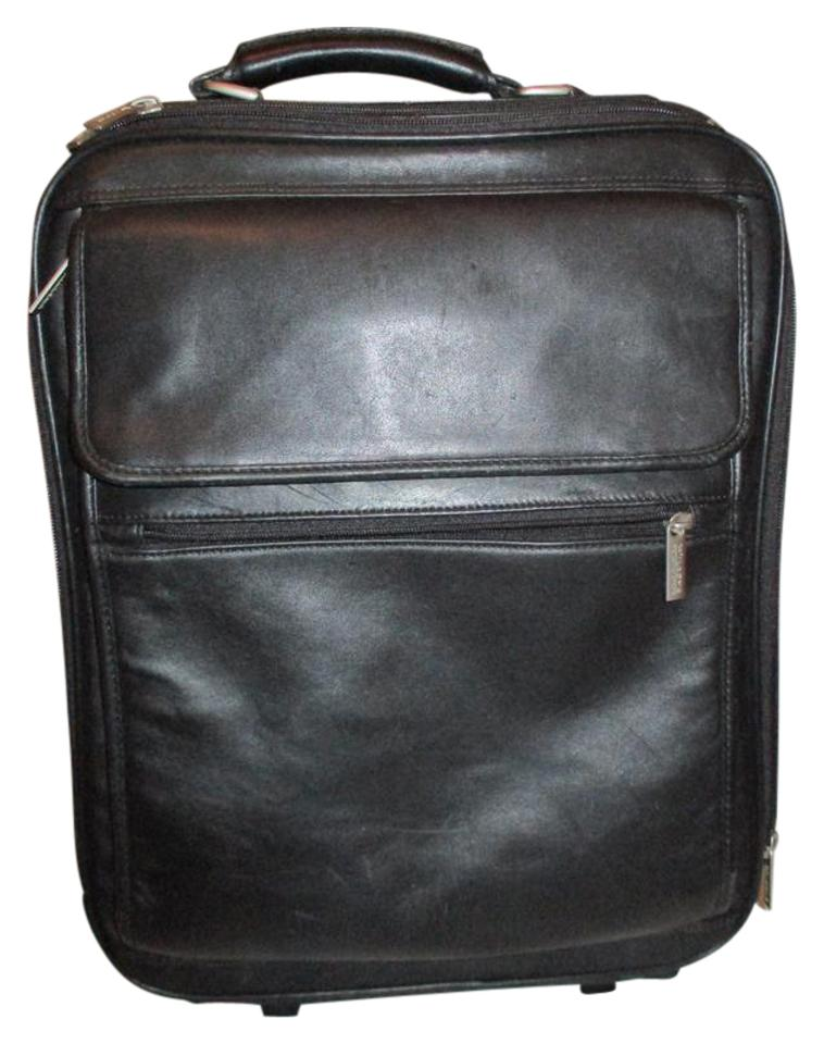 Wilsons Leather Briefcase Rolling Black Travel Bag