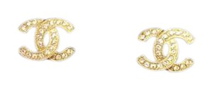 Chanel NEW Authentic Chanel soft gold cc crystal earrings